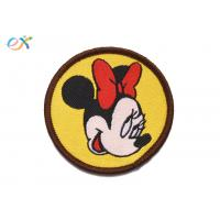China Mickey Mouse Custom Woven Patches Polyester Background For Clothing Logo wholesale