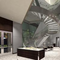 China Prefabricated Stainless Steel Glass Stairs Curved Stair Manufacturers with Spigot Glass Railing wholesale