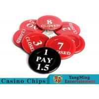 Red / Black  Anti - Fade Casino Game Accessories 40 Mm Plastic Insurance Code Set for sale