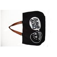 China Black Skeleton Printing Reusable Canvas Grocery Bags With PU Leather Handle on sale