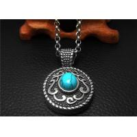 Cool Stainless Steel Pendant Necklace Chain Men Blue Agate Necklace