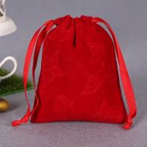 China Printed Red Cotton Drawstring Bag , Large Canvas Drawstring Laundry Bag wholesale