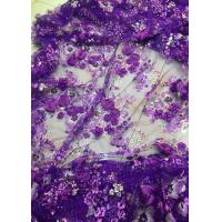 China Luxury Guipure 3D Flower Lace Fabric For Apparel 135cm Width Purple wholesale