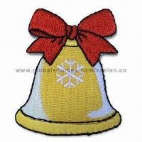 Quality Christmas Bell Embroidery Patch, Suitable for Apparels and Garments, Customized Designs are Accepted for sale