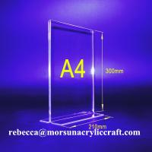 China PMMA Bảng Tent Transparent Acrylic menu Chủ A4 chân dung hai mặt wholesale
