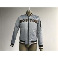 China Bluish Grey Mens Polyester Bomber Jacket With Black And Tan Terry Toweling Applique on sale