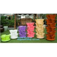 China PP Plastic materials hydroponic vertical tower stackable plastic garden pots,vertical tower farming use stacking planter wholesale