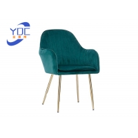 Buy cheap Modern Wooden Low Back Tufted Dining Chair With Arms Golden Leg from wholesalers
