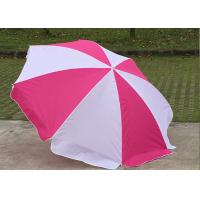 China Foldable Pink And White Outdoor Sun Umbrellas Nylon Material With Steel Frame wholesale