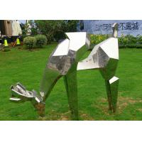 China Life Size Animal Deer Stainless Steel Sculpture For Garden Decoration wholesale