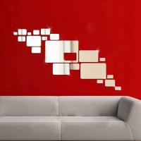China 3D Silver Mirror Surface Geometric 20pcs Rectangle Acrylic Wall Sticker Decor wholesale