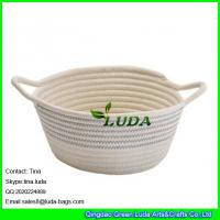 China LUDA 2016 new bag striped collapsible cotton rope bag storage baskets wholesale