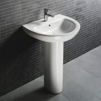 Quality D4006 490x490x840mm Bathroom pedestal stone wash basin modern pedestal sink for sale