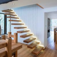 China Modern Decorative Floating Wood Stairs with Invisible Stringer Stainless Vertical Rod Railing wholesale