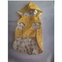 China Waterproof PVC Pet Yellow Raincoat hooded cat rainwears printing for Shiba , Beagle wholesale