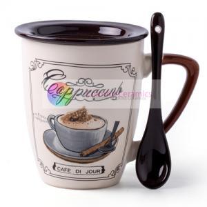 China 350ml ceramic coffee mug with spoon with lid custom printed mugs пить кофе personalized coffee mugs design by decal on sale