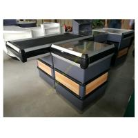 Buy cheap Supermarket Metal Conveyor Belt Cashier Checkout Counter With Steel Wood Anti from wholesalers