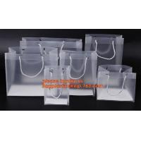 China plastic clear heat seal square bottom pp bag with plastic handle,gift bag transparent shopping handle bag bagease pac wholesale