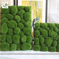 China UVG factory direct sale decorative flocking foam artificial moss in green for home garden landscap GRS038 wholesale