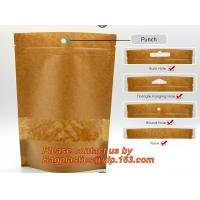 China custom resealable recyclable kraft paper square bottom zipper bag, standup Zipper seal Kraft Paper Coffee Bag with Side wholesale