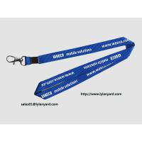 """China Mobile Solutions Silk Screen In White Print Neck Lanyard 36"""" with Metal Crimp wholesale"""