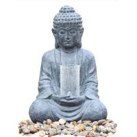 China Cyan Stone Sitting Buddha Water Fountain For Home / Asian Water Fountains wholesale