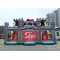 China 12x10m children giant medieval haunt house inflatable castle slide with tunnel N obstacle course wholesale