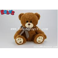 Quality Hot Sale Stuffed Bear Soft Toy With Embroidery Paw and Check design bowknot for sale