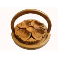 Quality Chinese Craft Spiral Cut lotus Flower Bamboo Wood Collapsible Fruit Food Basket for sale