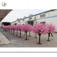 China UVG artificial pink flowering cherry tree in wooden trunk for exhibition hall decoration CHR035 wholesale