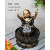 China Little Monk Resin Water Pump Fountain With Revolving Ball 13.5 X 13.5 X 18 Cm wholesale