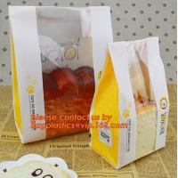 China Customize 3 Side Visible Clear Window Offset Printing Bakery Bags, Customize V Bottom with Clear Window Food Grade Toast wholesale