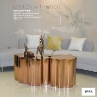 China Decorative Modern Lobby Furniture Metal End Table In Golden Finish wholesale