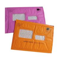China Pink Kraft paper  bubble mailers size #5 10.5x16 with window ideal for address label wholesale