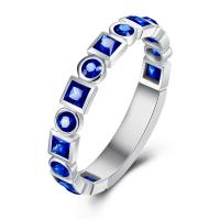 Natural Gemstone Gold Jewelry Blue Sapphire Eternity Band Ring For Engagement