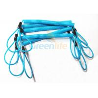 China Blue Coil Tool Lanyard Elasticated Spring Tool Tether With Double Loop Ends wholesale