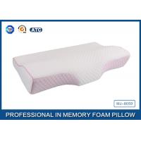 China Colorful Tencel Cover / Pipping Raised Curved Memory Foam Pillow 23.7X13.5X2.5-4.2 Inch wholesale