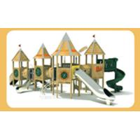 China Climbing Net Wooden Playset With Slide , Small Wooden Slide Commercial Colorful wholesale