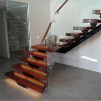 China Hot Sale Modern Internal Staircase Walnut Stair Treads Staircase with Glass Railing wholesale