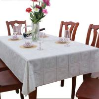 China White PVC Table Cloth Covers Wipe Clean , No Need To Wash Or Iron wholesale