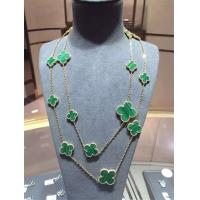 Buy cheap Magic Alhambra Long Necklace Van Cleef And Arpels 16 Motifs Yellow Gold Malachite from wholesalers