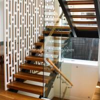 China Beautiful Modern Design Double Cantilevered Steel Wood Stringer Glass Staircase wholesale