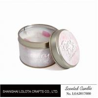 China Small Soy Tealight Candles , Tin Can Candles Raspberry / Amber Fragrance wholesale