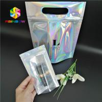 Buy cheap Plastic Hologram Mylar Zipper Cosmetic Packaging Bag CMYK Color With Clear from wholesalers