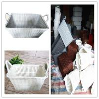 Weaving Rattan Plastic Dirty Clothes Baskets/Bins Organizer with Handles