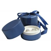 China Wedding Double Rings Jewelry Paper Boxes With Ribbon Dark Blue wholesale