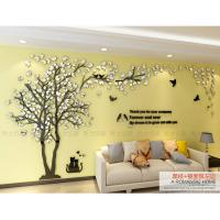 China Home decoration livingroom TV background 3d mirror acrylic material LOVERS tree wall sticker on sale