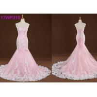 China Spaghetti Straps Colored Mermaid Wedding Dresses , Sweep Train Pink Colour Wedding Gown wholesale
