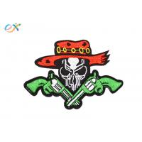 China Twill Material Gun Skull Custom Motorcycle Patches Sew On Backing For Leather Vest wholesale