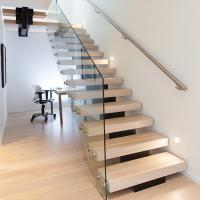 China Modern Style Indoor Single Stringer Straight Steel Solid Wood Staircase wholesale